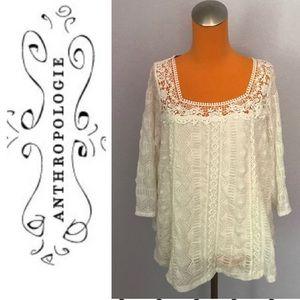 Meadow rue cream lace blouse M EUC